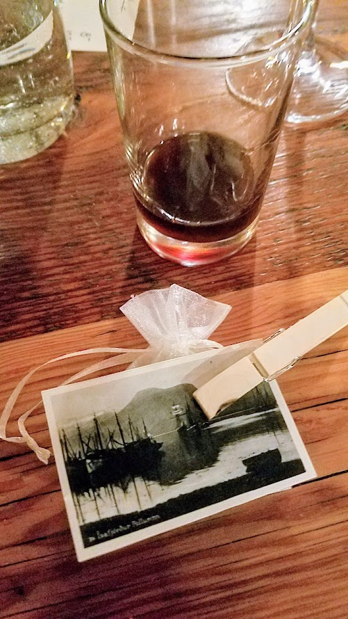 At the end of the Fimbul PDX dinner, we were presented each with this mini notecard that includes a total of any a la carte beverages you ordered (I had pre-purchased my wine pairing already so no total shown on mine) along with a little chocolate candy and an option to leave gratuity.