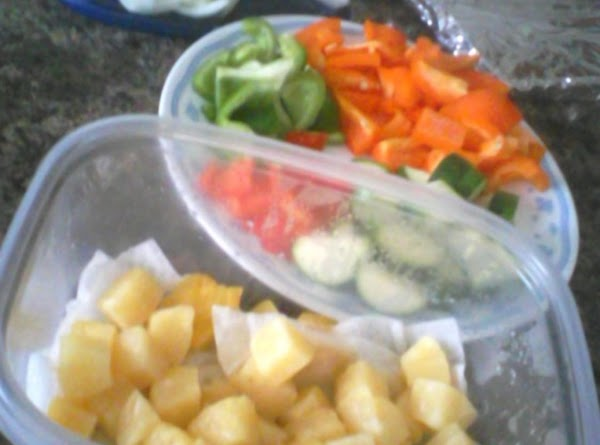 Cut your pineapple and chosen veggies into 1 inch chunks.