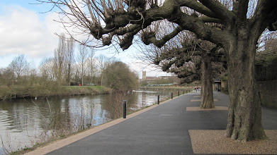 Photo: Looking along the bike/walking path along the River Severn.