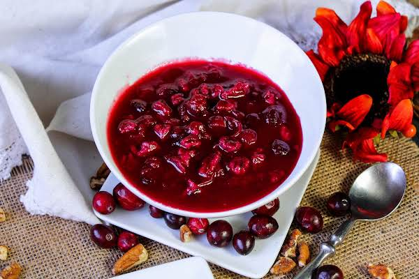 A Bowl Of Holiday Cranberry Conserve Ready To Be Served.