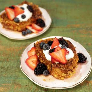 Cornflake French Toast with Fresh Berries and Mascarpone Cream.
