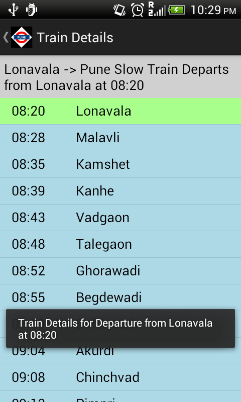 Pune Local Train Timetable- screenshot
