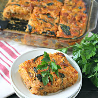 Spicy Sausage and Vegetable Spaghetti Squash Casserole.