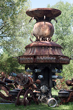 Photo: last weekend, my husband and i visited the grounds of Dr. Evermor's scrap metal sculpture garden, outside of baraboo. this is one of the smaller pieces to greet you at the entrance standing about 16' high.  find out more about this amazing artist here— http://www.pbs.org/independentlens/offthemap/html/travelogue_artist_2.htm?true
