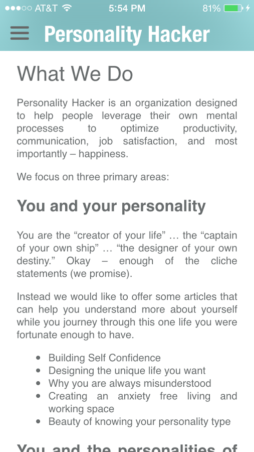 Personality Hacker- screenshot