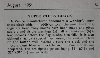 Photo: CHESS August 1951  Not a clock that I have seen or even seen referred to in other issues - so was it ever produced?