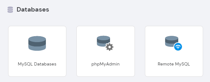 Hostinger hPanel: Database section