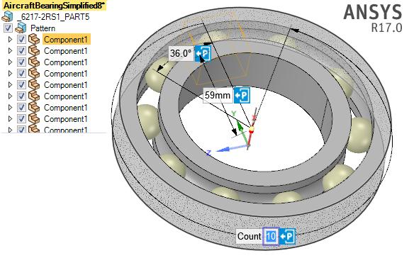 ANSYS - Изменение геометрии шарикоподшипника в ANSYS SpaceClaim посредством добавления тел качения.
