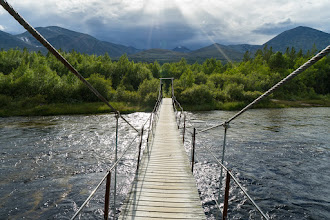 Photo: Bridge at the start of hiking trails into the Rondane mountains.