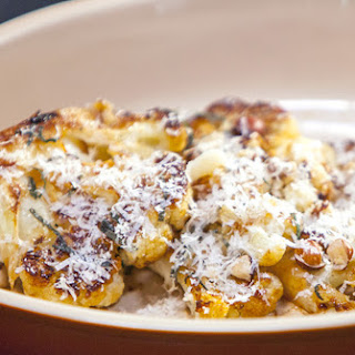 Caramelized Cauliflower with Hazelnuts, Parmesan and Sage.