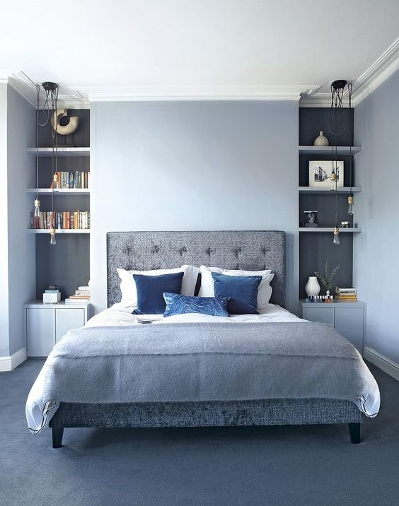 Built-in Bookcase behind the bed