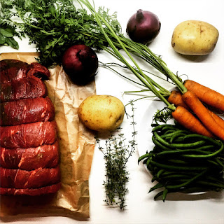 Red Wine Braised Shredded Beef with Roasted Potatoes & Carrots
