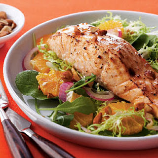 Glazed Salmon on Greens and Orange Salad