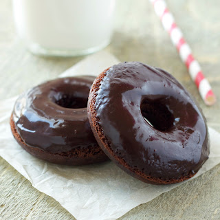 Healthier Double Chocolate Baked Donuts.