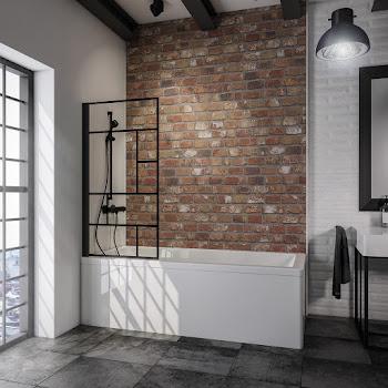Pare-baignoire verrière, 80 cm, 1 volet, style industriel, profilé noir