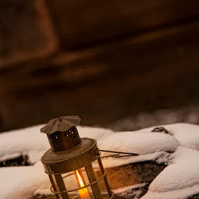 A little light dispels alot of darkness by Patrick Morgan - Artistic Objects Other Objects ( candle, vintage, snow, fine art, yellow, light )