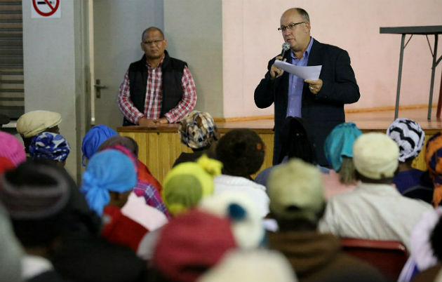 Mayor Athol Trollip addresses the crowd at yesterday's IDP meeting held in Missionvale