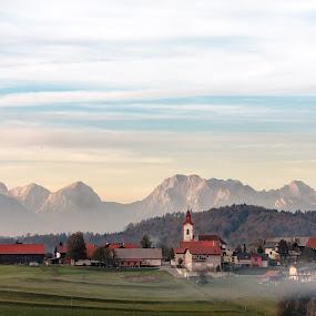 Hilltop by Jernej Lah - City,  Street & Park  Vistas ( mountians, kolesarjene, village, fog, sunset, barje, slovenia, ljubljana )