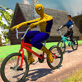 Spider Hero VS Superheroes Cycle Race