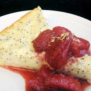 Buttermilk Poppyseed Custard Cake with Roasted Strawberries.