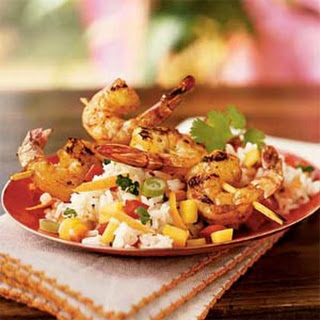 Mango Rice Salad with Grilled Shrimp.