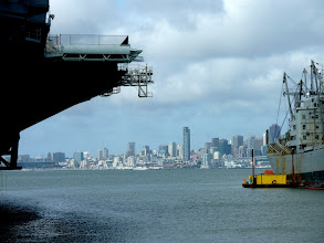 Photo: San Francisco seen from under the deck of the SS Hornet