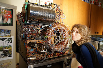 Photo: Producer Vered Shavit tries the time machine for size.