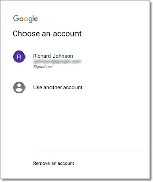 Choose an account to use to sign in to your Google Fiber account.