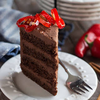 Chocolate Cake with Mexican Chocolate Frosting.