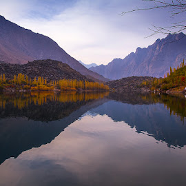 Lake in Mountains by Basharat Ali - Landscapes Mountains & Hills ( reflection, mountains, nature, lakes, autumn colors, landscape, landscapes, evening, photography )