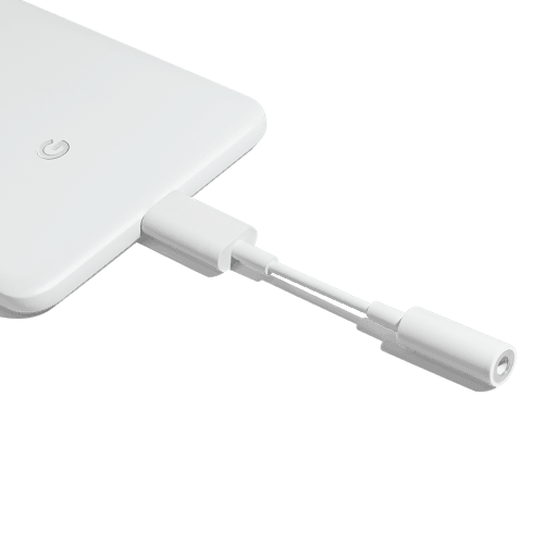 Headphone adapter connected to a Pixel 2