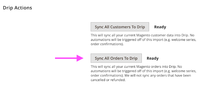 Drip Actions (sync orders).