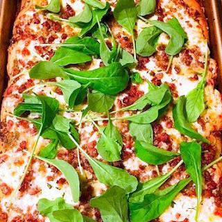 Sausage & Pesto Pizza with Arugula