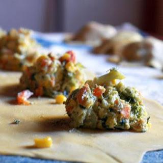 Garden Vegetable Ravioli With Tomato Brodo.