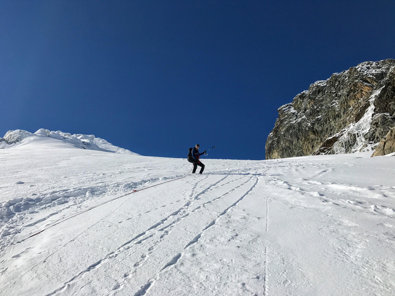 Marijn breaking trail to Fuorcla dal Canfin