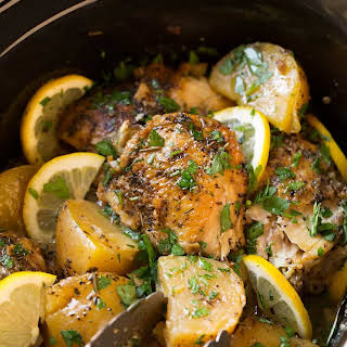 Slow Cooker Greek Lemon Chicken and Potatoes.