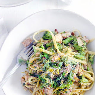 Chicken and Broccoli Linguine with Lemon Butter Basil Sauce.