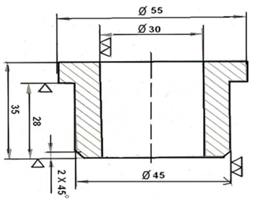 Indication of Surface Roughness by Triangle Symbol