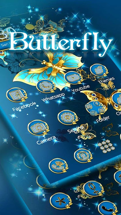 Golden Butterfly Theme Lock Screen Android Aplikace