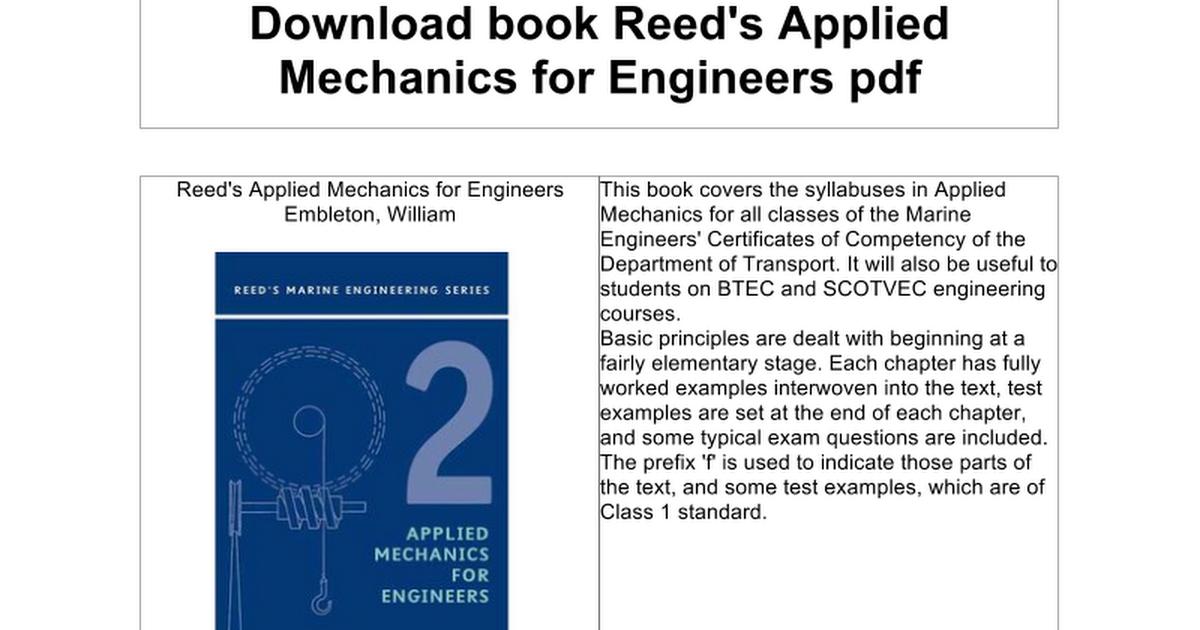 Applied Mechanics Books Free Pdf - goodsiteunder