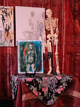 """Photo: 'The Lady and Her Skeleton,' 2012, 15"""" x 11"""", charcoal, Cretacolor water-soluble oil pastels, India ink on Pentalic archival 25% cotton 130lb paper. (A gorgeous pale cream paper, percentage of sale donated to the American Wildlife Foundation.)"""