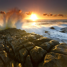 The Sea is Mighty by Jason Asher - Landscapes Waterscapes ( sunshine coast, might, queensland, warm, splash, waterscape, blur, landscape, sun, crashing, undulate, motion, rocks, crash, clouds, water, point arkwright, coolum, waves, sea, seascape, coastal, motion blur, dawn, headland, wide angle, australia, mighty, sunrise )