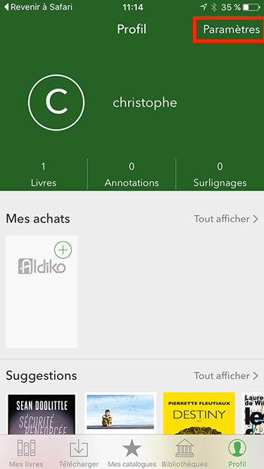 Ios aldiko account screen