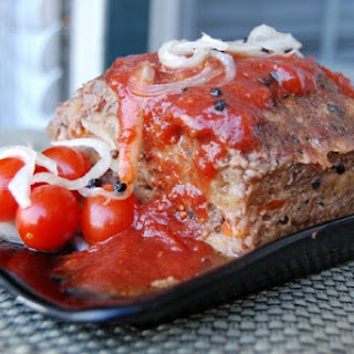 Roasted Red Pepper Meatloaf with Pickled Tomato Barbeque Sauce.