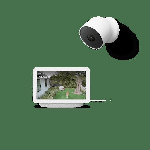 Nest Hub mit Aufnahmen von draußen, und Nest Cam
