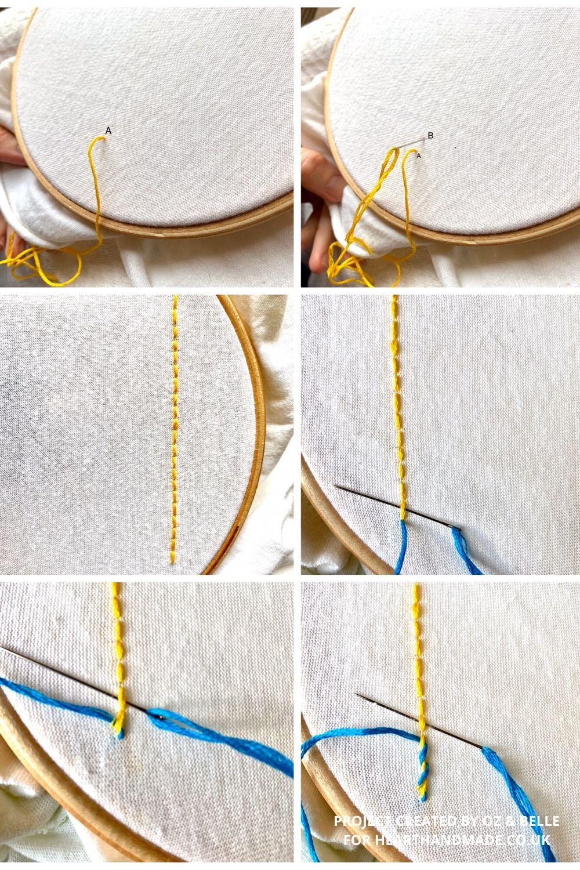 Basic embroidery stitches - braid stitch