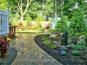 Photo: #LandscapeDesign with Water Features, #PaverPatios, Walkways, Low Maintenance Plantings, Landscape Lighting LED in Penfield NY byAcorn Ponds & Waterfalls, Certified Aquascape Contractor of Rochester NY since 2004. Check out our website www.acornponds.com and give us a call 585.442.6373.  To learn more about Landscape Design please click here: www.acornponds.com/landscape-design.html  For More infoabout Geoff and Karen's amazing project please visit www.facebook.com/notes/acorn-landscaping-landscape-designlightingbackyard-water-gardens/landscape-design-installation-walkway-patio-rock-fountain-waterfall-in-penfield-/238744206162709  Sign up for your personal design consultation here: www.acornponds.com/contact-us.html  Acorn Ponds & Waterfalls of Rochester NY, 585-442-6373, is a Certified Aquascape Contractor, Landscape Designer, Outdoor Lighting Designer, Installer, Builder, Contractor and Design Service Company from Rochester, NY. We have professional Installation and Design Services available for the following: Landscape Design Outdoor Room Design Backyard Ponds and Waterfalls Design & Construction Patios and Walkways: Paver, Stone, Brick Low Voltage Landscape Lighting LED Landscape Lighting Swimming Ponds Ecosystem Ponds LED Outdoor Lighting Retaining Walls Fountains Water Features Pondless Waterfalls Pond Maintenance and Design Aquatic and Under Water LED Lights Bubbling Boulders and Urns Natural Stone Patios and Rock Gardens Garden Ponds Outdoor Kitchens Pizza Ovens Fire Pits Fish or Koi Ponds Waterfall Ponds Low Maintenance Plantings Commercial Landscape Design Residencial Landscape Design Drainage Issues, Solutions Aquascape Rainwater Collection Systems  We serve Pittsford NY, Penfield NY, Brighton NY, Fairport NY, Webster NY, Greece NY, Victor NY, Henrietta NY, Irondequoit NY, Rush NY  Check out our photo albums on Pinterest here: www.pinterest.com/acornlandscape/  Click here for a free Magazine all about Ponds and Water Features: http://flip.it/gsrNN 