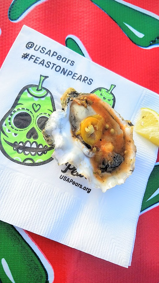 Feast PDX 2016 Night Market participant Maylin Chavez from Olympia Oyster Bar (Portland, OR): Oysters on the half Shell with Agua Chile Rojo, Pickled Cactus leaves, Avocado, and Micro cilantro