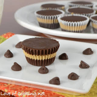 Homemade Mini Chocolate-Peanut Butter Cups.