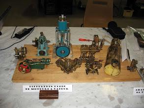 Photo: le moteur seito ( plus fabriqué) ets juste à gauche de la chaudière, en vert un moteur grande vitesse pour chaudière flash steam